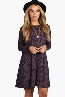 boohoo Plus Long Sleeve Swing Dress