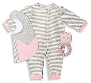 Oliver & Adelaide Baby Girl's 3-Piece Ruffle Coverall, Flower Bib & Crochet Teether Cotton Gift Set