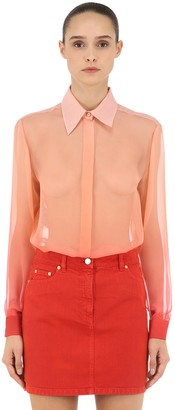 Alberta Ferretti Degradè Sheer Silk Crepe Shirt