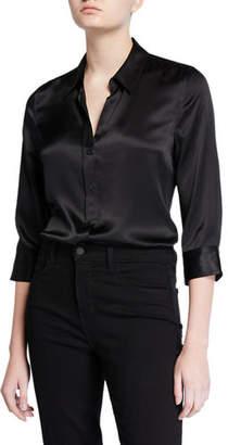 L'Agence Dani Silk Satin 3/4-Sleeve Button-Down Blouse