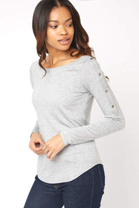 Red Haute Snap Shoulder Long Sleeve Jersey Tee