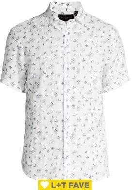 Black & Brown Black Brown Floral Short-Sleeve Linen Shirt