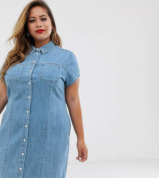 Asos DESIGN Curve soft denim short sleeve shirt dress midwash blue