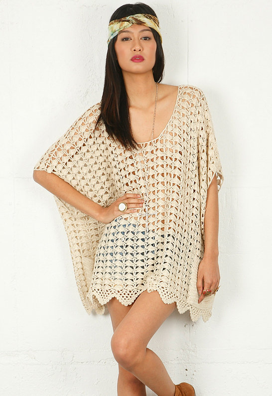 One Teaspoon Canyon Crochet Poncho in Natural -