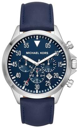 Michael Kors Gage Chronograph Leather Strap Watch, 45mm