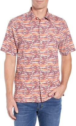 Tommy Bahama Rio Geo Short Sleeve Silk Blend Sport Shirt