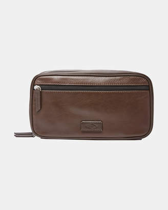 Fossil Brown Double Zip Shave Kit