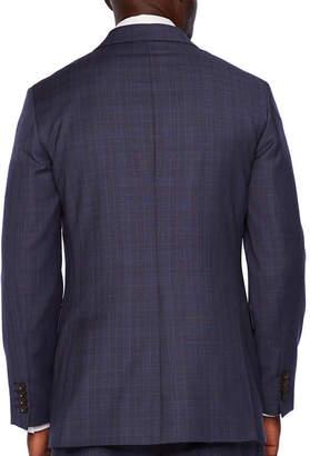 STAFFORD EXECUTIVE Stafford Executive Super 100 Plaid Classic Fit Suit Jacket