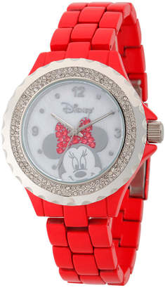 Disney Womens Minnie Mouse Red And Silver Tone Bow Bracelet Watch