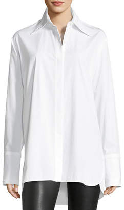 Helmut Lang Long-Sleeve Cotton Poplin Shirt with Cutout Back
