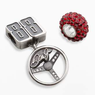 "Insignia Collection NASCAR Dale Earnhardt Jr. Sterling Silver ""88"" Steering Wheel Charm & Crystal Bead Set"