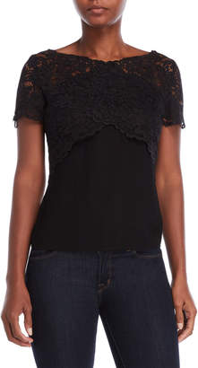 The Kooples Voile Lace Overlay Tee