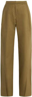 Palmer Harding PALMER/HARDING Wide-leg pleated-cuff cotton chino trousers
