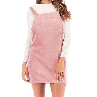 Opeer-Women Dress Opeer Hot Popular Womens Cute Straps Corduroy Suspender Skirt Mini Bib Pockets Overall Pinafore Dress (, L)