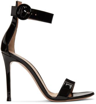Gianvito Rossi Black Patent Portofino Sandals
