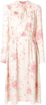 Valentino Rose Print Silk Midi Dress