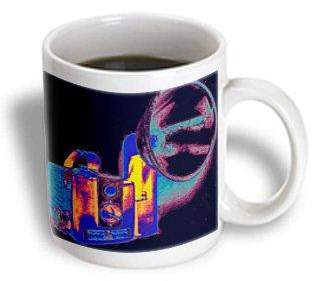 3dRose Picture of a Vintage rainbow 1950s camera with bulb flash, Ceramic Mug, 11-ounce