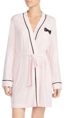 Kate Spade Bow and Contrast Piped Short Robe