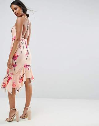 Asos DESIGN Floral Crepe Cross Back Step Hem Midi Dress