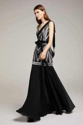 Amanda Wakeley Black & Gunmetal Long Dress with Metallic Embroidery