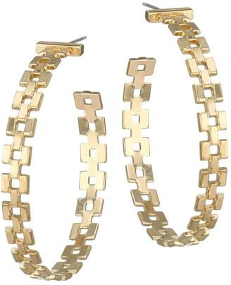 Jennifer Zeuner Jewelry Portia 18K Yellow Goldplated Chain Link Hoop Earrings