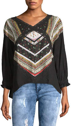 Free People Prairie Days Embroidered Top