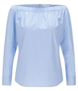 Hugo Boss Bagiana Cotton Carmen Blouse 6 Turquoise $215 thestylecure.com