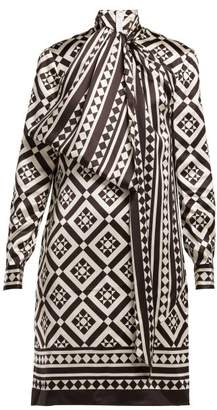 Mary Katrantzou Lyonel Geometric Print Satin Dress - Womens - Black White