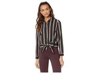 J.o.a. Stripe Shirt with Twist at Center Front