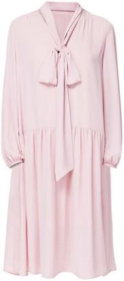 Diana Arno Ellie Tie Neck Dress In Blossom Pink