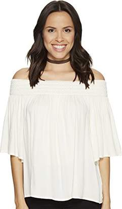 Jack by BB Dakota Women's Lin Rayon Crepe Off-Shoulder Top with Novelty Elastic Trim