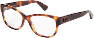 Gucci GG0098O Light Tortoiseshell-Look Rectangle Optical Frames
