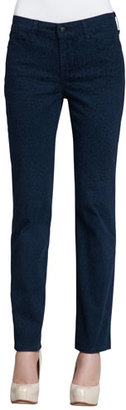 NYDJ Sheri Cheetah-Print Skinny Jeans, Heritage Blue $150 thestylecure.com