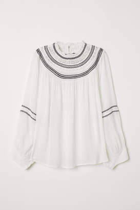 H&M Embroidered Blouse - White