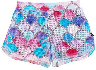 Terez Metallic Mermaid Print Mesh Athletic Shorts, Size 7-16