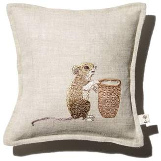 """Coral & Tusk Mouse Embroidered Pocket Decorative Pillow, 7"""" x 7"""""""