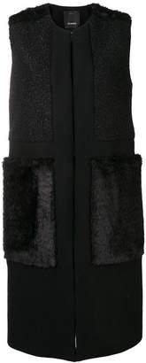 Pinko panelled sleeveless coat