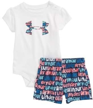 Under Armour Brushmark Logo HeatGear(R) Bodysuit & Mesh Shorts Set