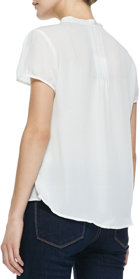 Joie Dayana Short-Sleeve Tie-Neck Blouse