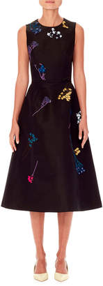 Carolina Herrera Sleeveless Floral-Embroidered A-Line Knee-Length Dress