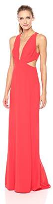 Halston Women's Sleeveless Deep V Neck Gown with Side Cut Outs