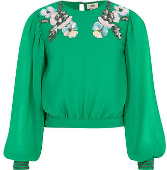 River Island Girls green embellished neck top