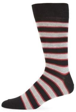 Saks Fifth Avenue Fade Jaspe Striped Crew Socks