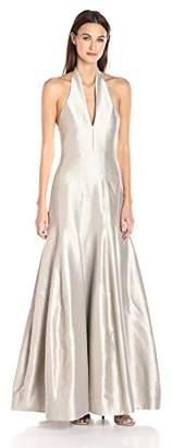 Halston Women's Sleeveless Organic Halter Neck Gown