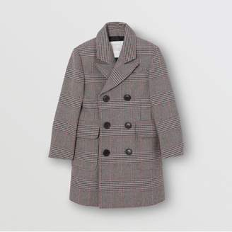 Burberry Childrens Prince of Wales Check Wool Cotton Blend Coat