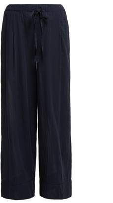 Loup Charmant Lace Insert Cotton Trousers - Womens - Navy