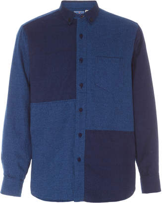 Blue Blue Japan Paneled Cotton-Flannel Shirt Size: S