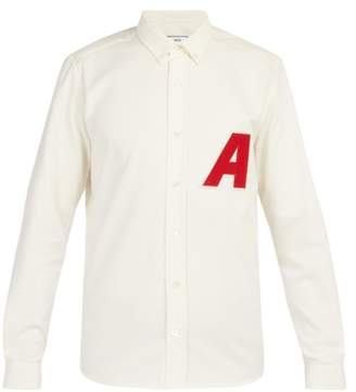Ami Logo Patch Cotton Oxford Shirt - Mens - White