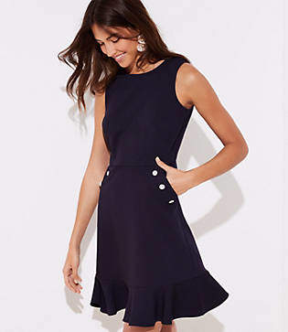 LOFT Button Pocket Flounce Dress