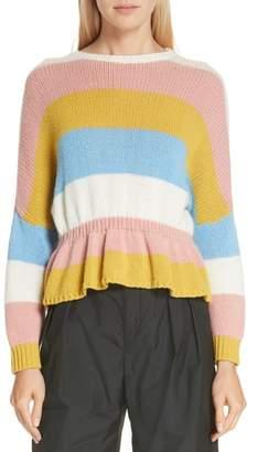 RED Valentino Ruffle Hem Stripe Wool Sweater